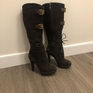 Guess Brown Suede Knee High Boots
